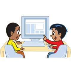 Boys At Computer vector image