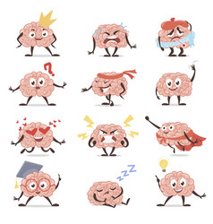 brain emotions cartoon set education and vector image