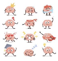 Brain emotions cartoon set education vector
