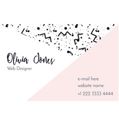 Business card template in style memphis vector