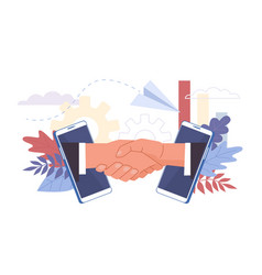 business deal handshaking biz partners campaign vector image