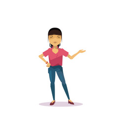 Cartoon asian woman holding hand gesture vector