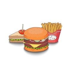 Cartoon fast-food meal vector