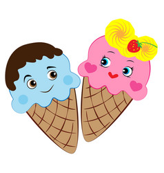 cartoon ice cream in love vector image