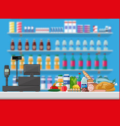 cashier counter workplace supermarket interior vector image