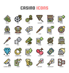 Casino thin line and pixel perfect icons vector
