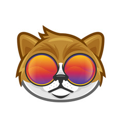 Cat head wearing colorful glasses in cool and vector