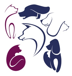 cats and dogs collection of pets symbols vector image