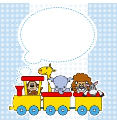 Children train with animals vector