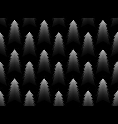 christmas tree monochrome seamless pattern black vector image