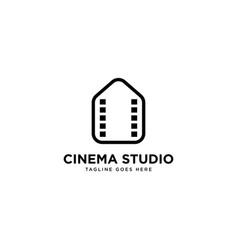 Cinema studio logo simple line logo template vector