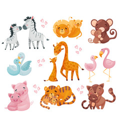 Collection pairs animals mom and baby vector
