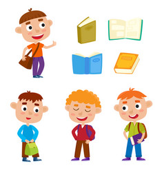 color set pretty boys stand with books bag vector image