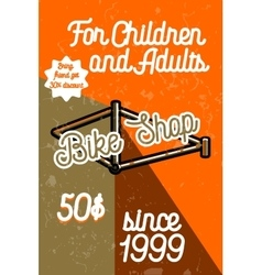 Color vintage bike shop banner vector
