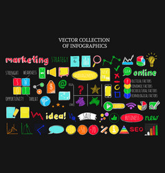 Colorful infographic business sketch icons set vector
