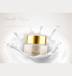 Cream jar for beauty skin in milk splash vector