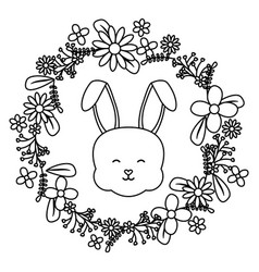 Cute little rabbit with floral decoration frame vector