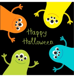 Cute monster roundelay set Happy Halloween card vector