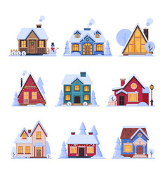 cute snowy houses collection suburban cottage vector image