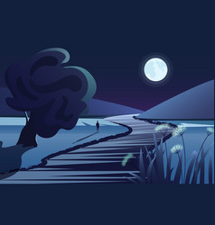 dark mountains river or lake moon lonely person vector image