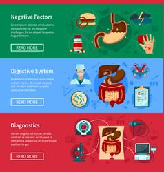 digestive system flat banner set vector image