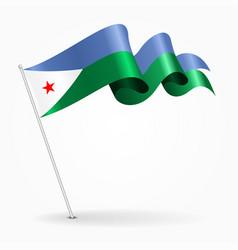 djibouti pin wavy flag vector image