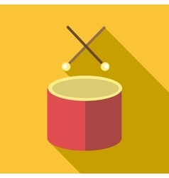 Drum with sticks icon flat style vector