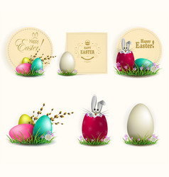 element of design easter eggs with a willow vector image