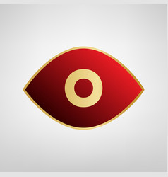 Eye sign red icon on gold vector