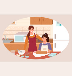 family preparation for cookie in kitchen vector image