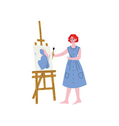 female artist character drawing on easel with vector image