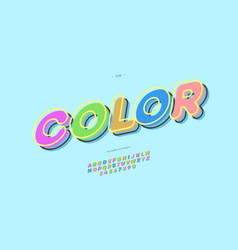 font color 3d bold style vector image