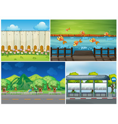 four scenes with road and river vector image