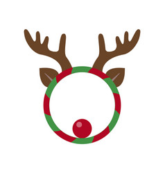 Funny christmas wreath with deer horns vector