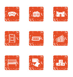 Gambling establishment icons set grunge style vector