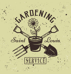 gardening service emblem with flower pot vector image