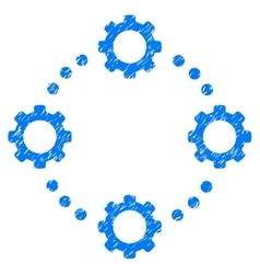 Gear Virtual Connection Grainy Texture Icon vector