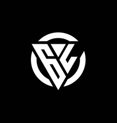 gl logo with triangle shape and circle rounded vector image
