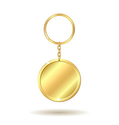 golden keychain circle shape vector image