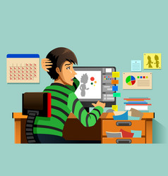 Graphic designer working on his computer vector