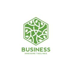 green leaf decorative hexagon vector image