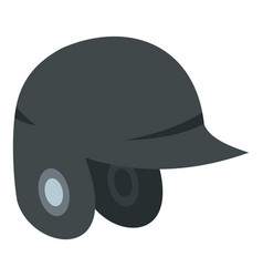 Grey baseball helmet icon isolated vector