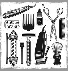 Hairdressers tools and barbershop vintage elements vector