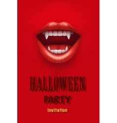 Halloween Party Invitation with vampire mouth vector image
