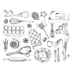 hand drawn bakery design elements vector image
