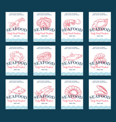 hand drawn seafood product poster set vector image