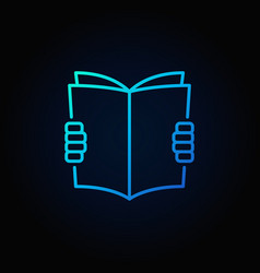 Hands holding book blue icon vector