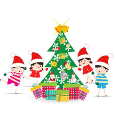 Happy kids decorating a christmas tree vector