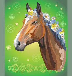Horse portrait with flowers5 vector