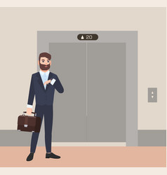 hurrying bearded man businessman or office worker vector image